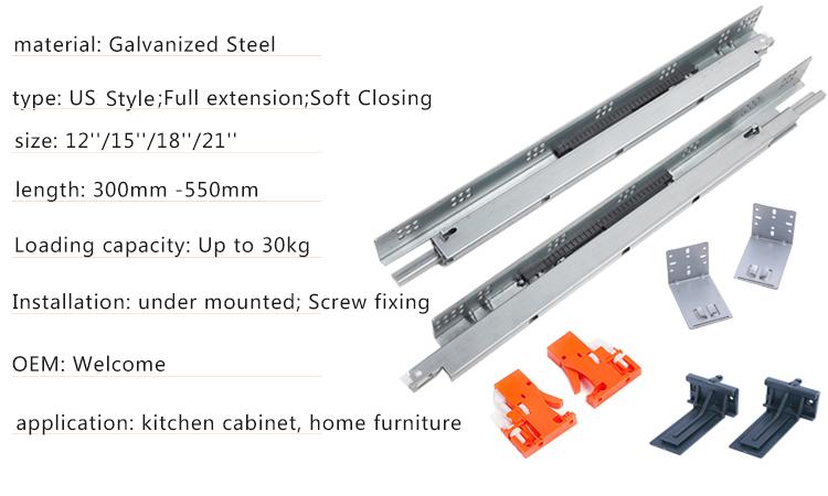 triple extenison undermount drawer slide