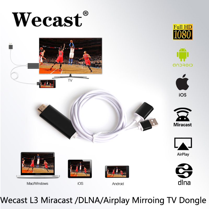 Wecast Miracast/Airplaymirroring <strong>HDMI</strong> <strong>Dongle</strong> Lightning Phone to <strong>TV</strong> Screen