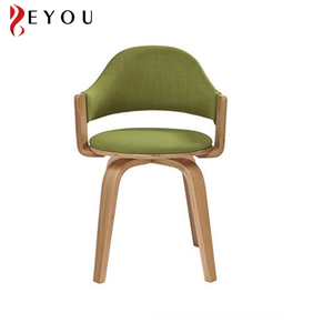 Small round seat curved dining armchair fabric upholstered wooden swivel chair for living room
