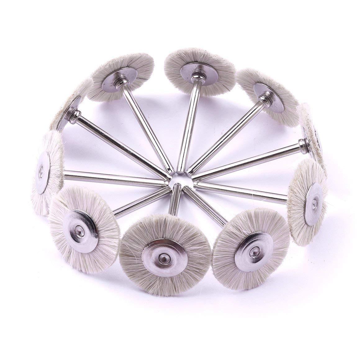 Letbo New 30pcs Soft White Goat Hair Polishing Wheel Brushes Set