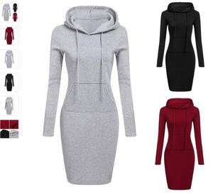 ecowalson 2018 Fashion Hooded Drawstring Full Sleeves Fleeces Women Dresses Winter Dress