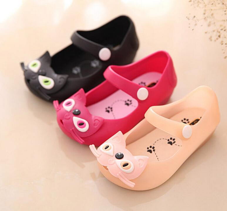 Mini melissa girl sandals 2016 hot sale new plain rain boot baby summer jelly little cat