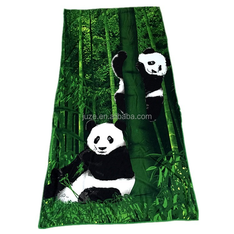 China new design panda printed customized beach towel