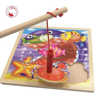 Colorful educational ocean animal children wooden magnetic fishing game toys