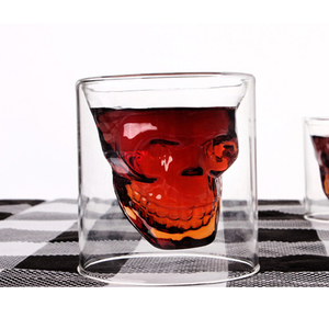 Wholesale factory double wall skull shot glass cup