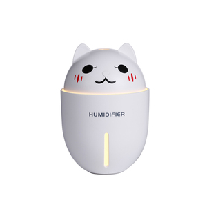 3 In 1 Adorable Pet Ultrasonic Air Humidifier 320ml Ultra-Quite Mini LED Light USB Fan Aroma Humidificador For Home Office