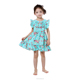 Aqua color floral printed clothing ruffles baby girl dress wholesale