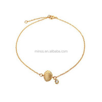 Gold Vermeil Clam Shell Seashell Cz Charm Bracelet 7in, Summer Beach Jewelry
