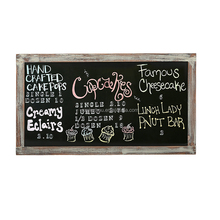 Rustic Whitewashed Magnetic Wall Chalkboard Framed Decorative Chalkboard - Great for Kitchen Decor, Weddings, Restaurant Menus