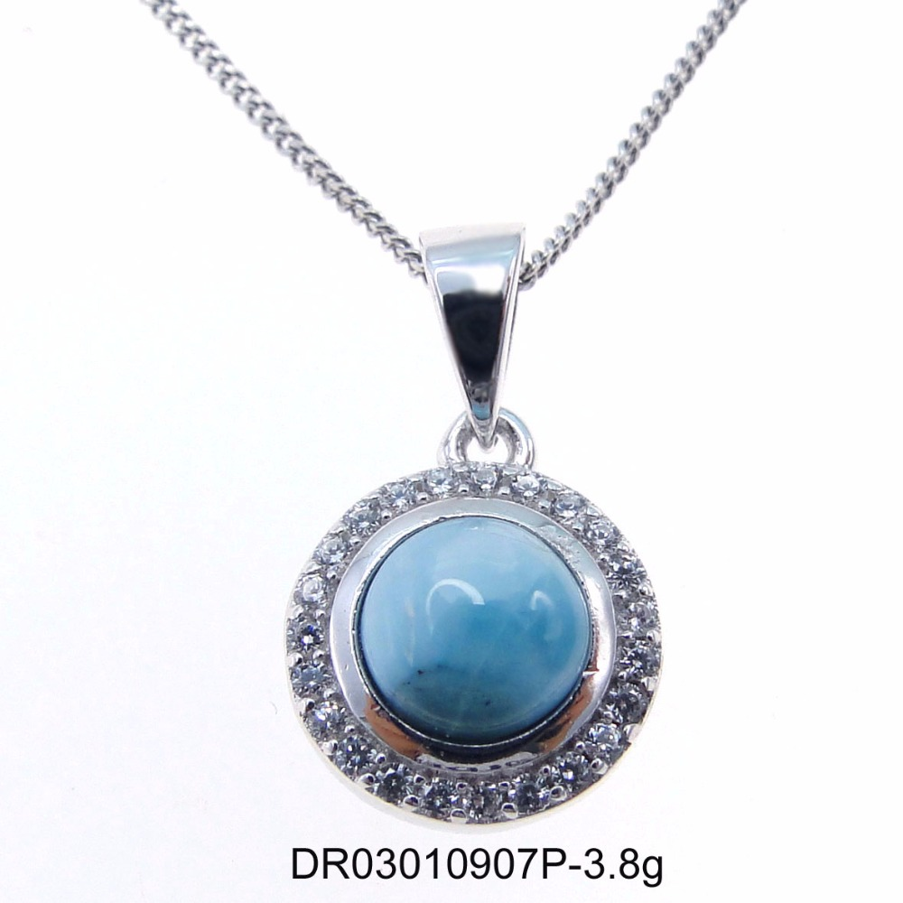Fashion Jewelry Narural Larimar with White CZ 925 Sterling Silver Gemstone Round shaped Pendant