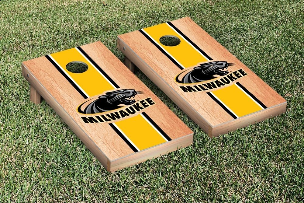 Wisconsin Milwaukee Panthers Cornhole Game Set Hardcourt Stripe Version