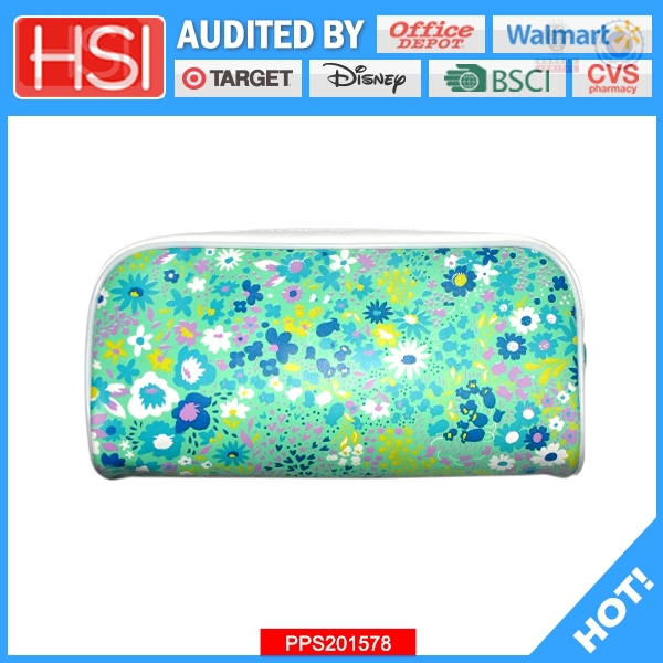 Printed big zipper artificial leather pencil pouch