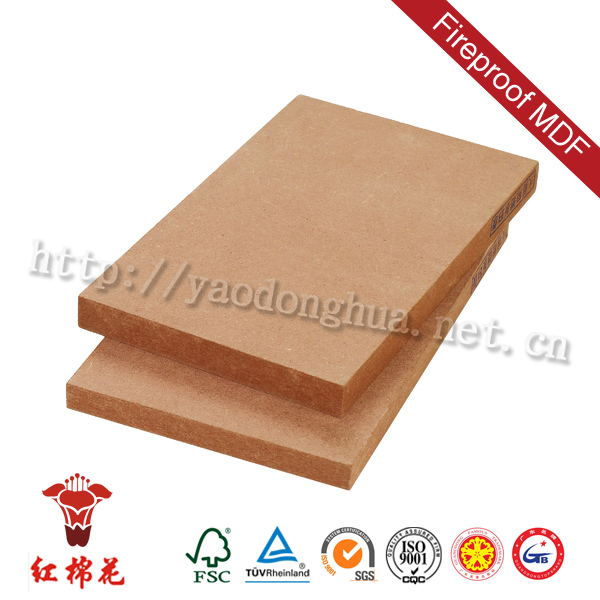 Commercial used flame retardant mdf(fireproof mdf) e1 for high cabinet