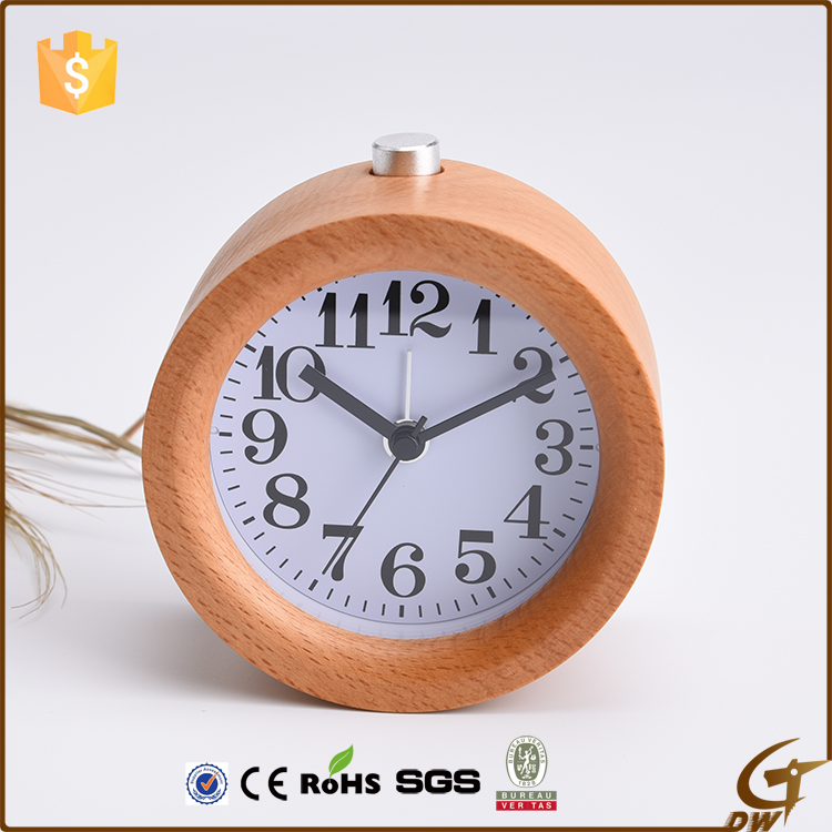 2016 new design table clock wooden clock alarm clock