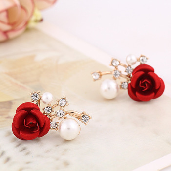 Korean Style Fashion Rose Shaped Pearl Stud Earring