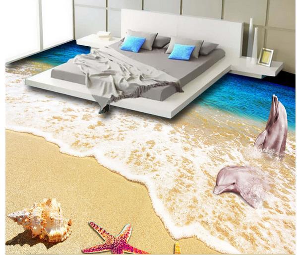 photo personnalis tage wallpaper 3d st r oscopique dauphin plage sol 3d 3d murale pvc papier. Black Bedroom Furniture Sets. Home Design Ideas