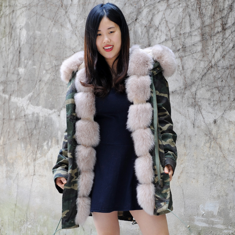 CX-G-P-03 Fashionable High-end Italy Style Rex Rabbit Fur Lining Coats Fox Fur Collar Jacket Winter Women Real Fur Parka