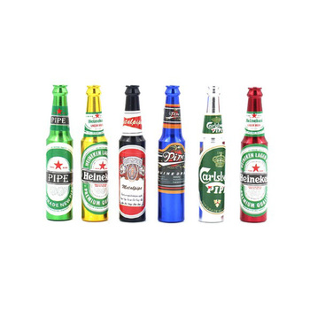 Hot Sale Fancy Colorful Big Size Beer Bottle Shape Novelty Metal Aluminum Smoking Pipe