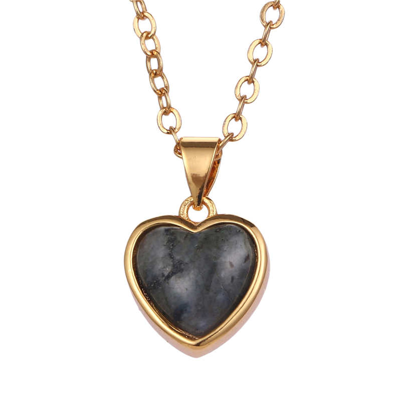 두바이 금 plated o 쇄 액세서리 fashion jewelry heart natural 장석 topaz 돌 펜 던 트 charm necklace women