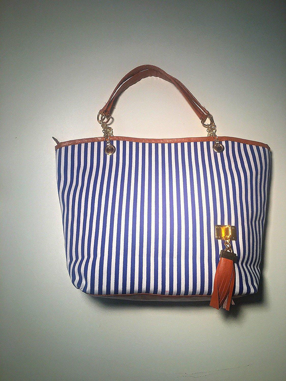 Hunnt® Tobey New Fashion Stripe Design Women Street Snap Candid Tote Single Shoulder Canvas Bag Handbag Three Colors Available Red Blue Black (Blue)