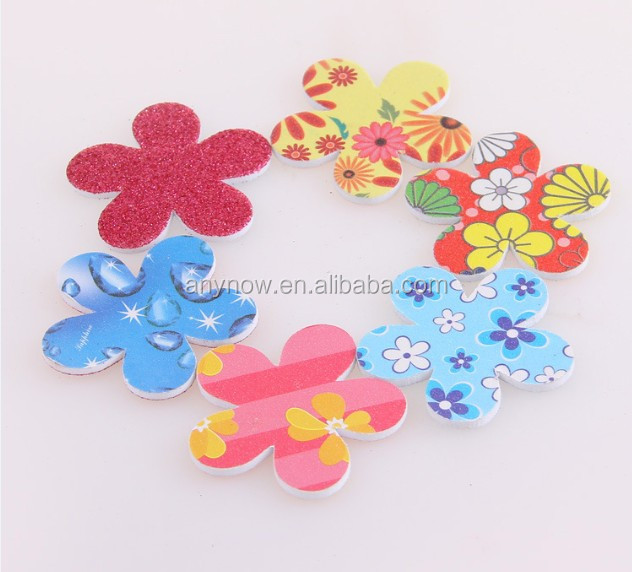 Double sided printed Eva plum blossom shape lovely mini nail tool nail file