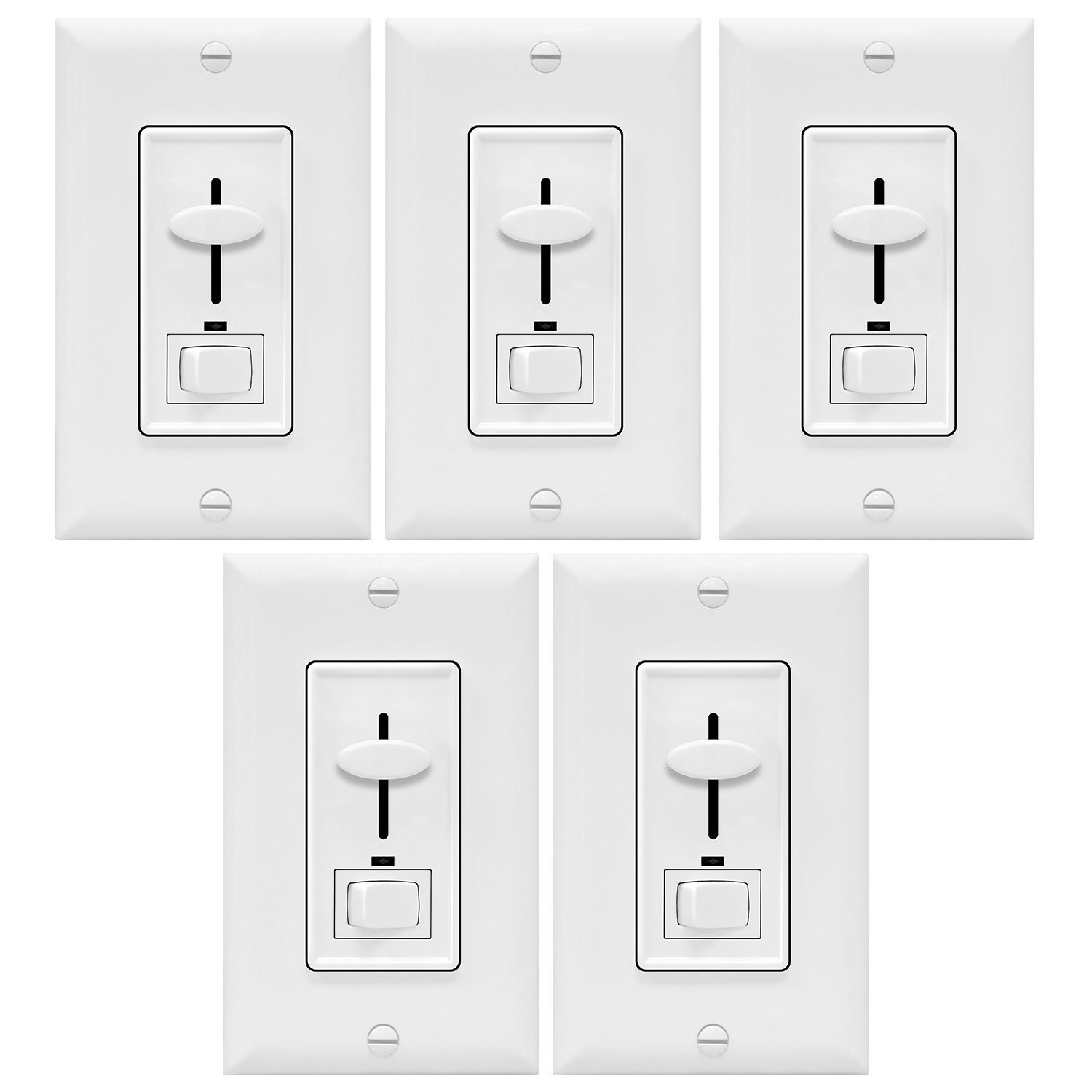 Enerlites Dimmer Light Switch 3-Way Multi Location for Dimmable Incandescent / Halogen Light Bulbs | In-Wall, Electrical Dimming Switch, ON/OFF Switch, Green LED Night Light | 700W, 120V, 60Hz, White