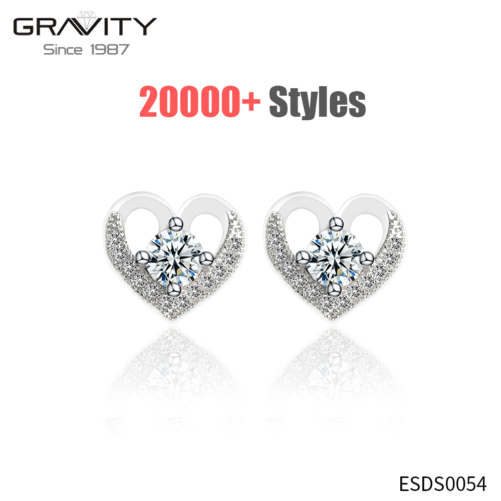 Latest model fashion new style simple designs small diamond stud statement white gold plated zirconia earring jewelry for women