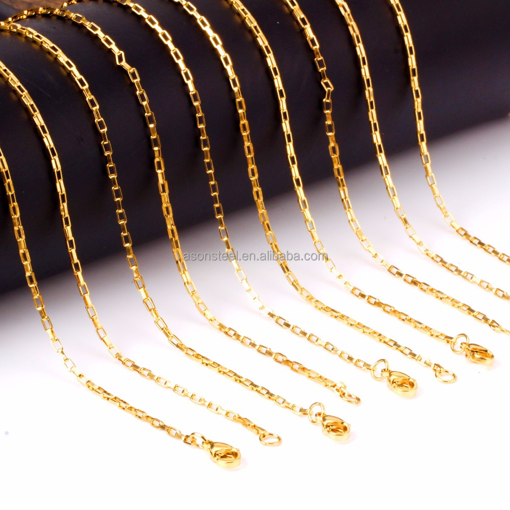 14K Gold Plated 10pcs/set Chains Necklace Black/Steel Silver Rose Gold Jewelry Chains for Women/Men