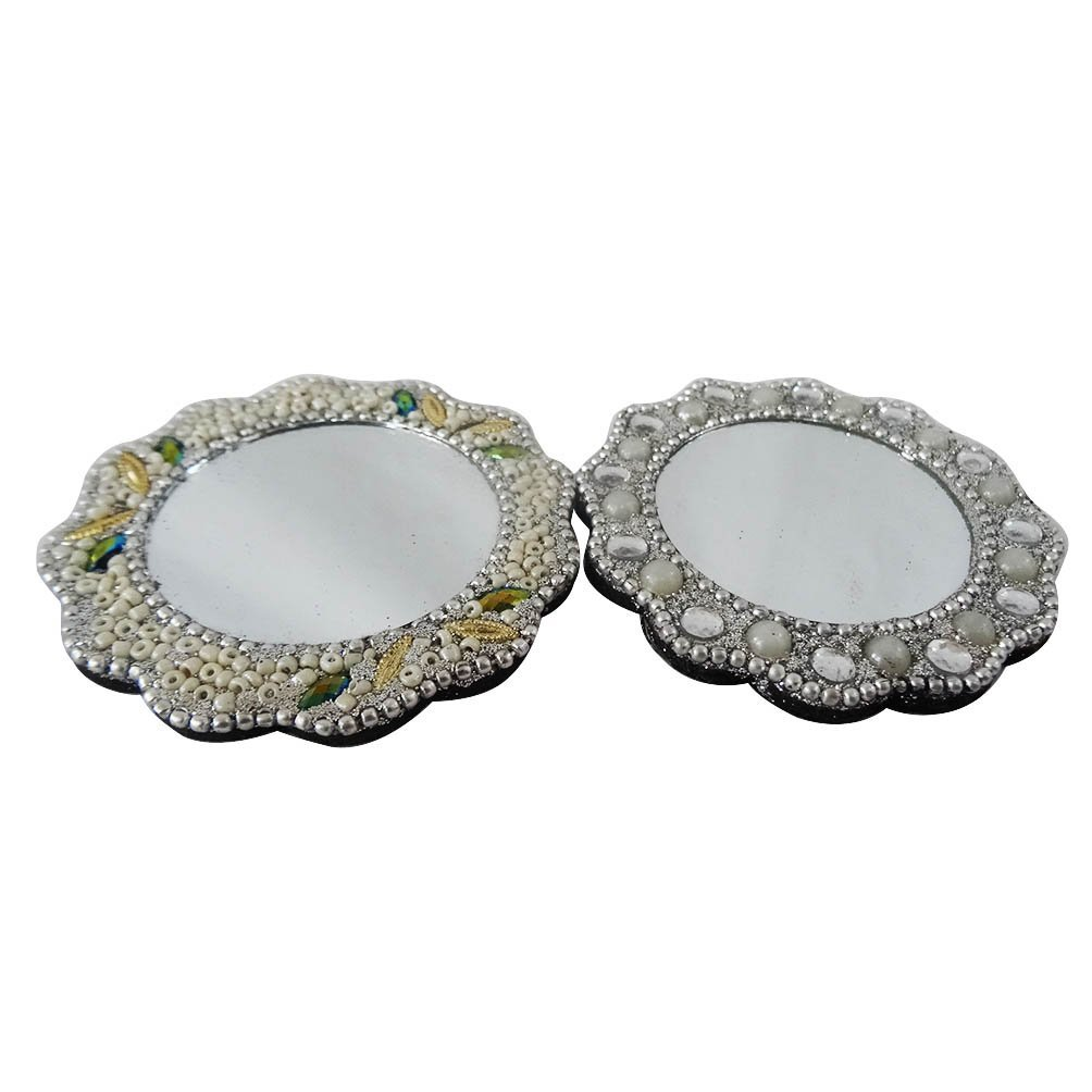 Antique Style Mirror Set of 2 Pcs Decorative Mdf Lac Material Floral Shape Silver Mirror Women's Makeup Mirror Handmade Gift Item