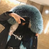 Hot Sale Women Winter real Fur Lining Jacket Fashion Style Fox Fur Collar Parka