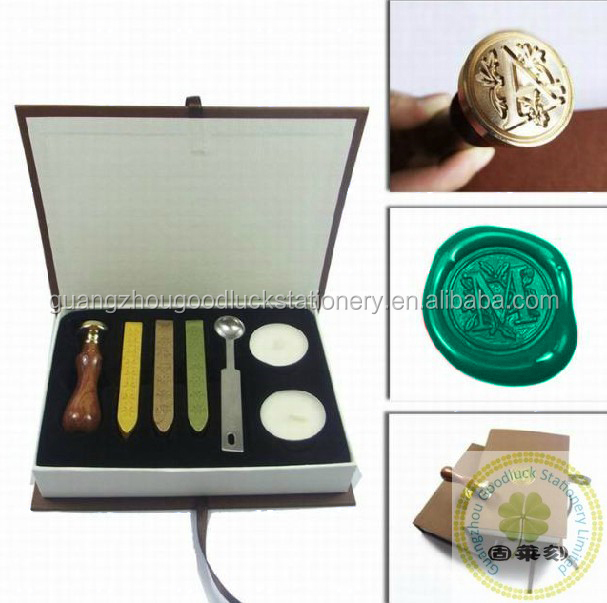 Most popular newly Rectangular wax seal stamp kit/Fashion design wooden handle wax seal stamper