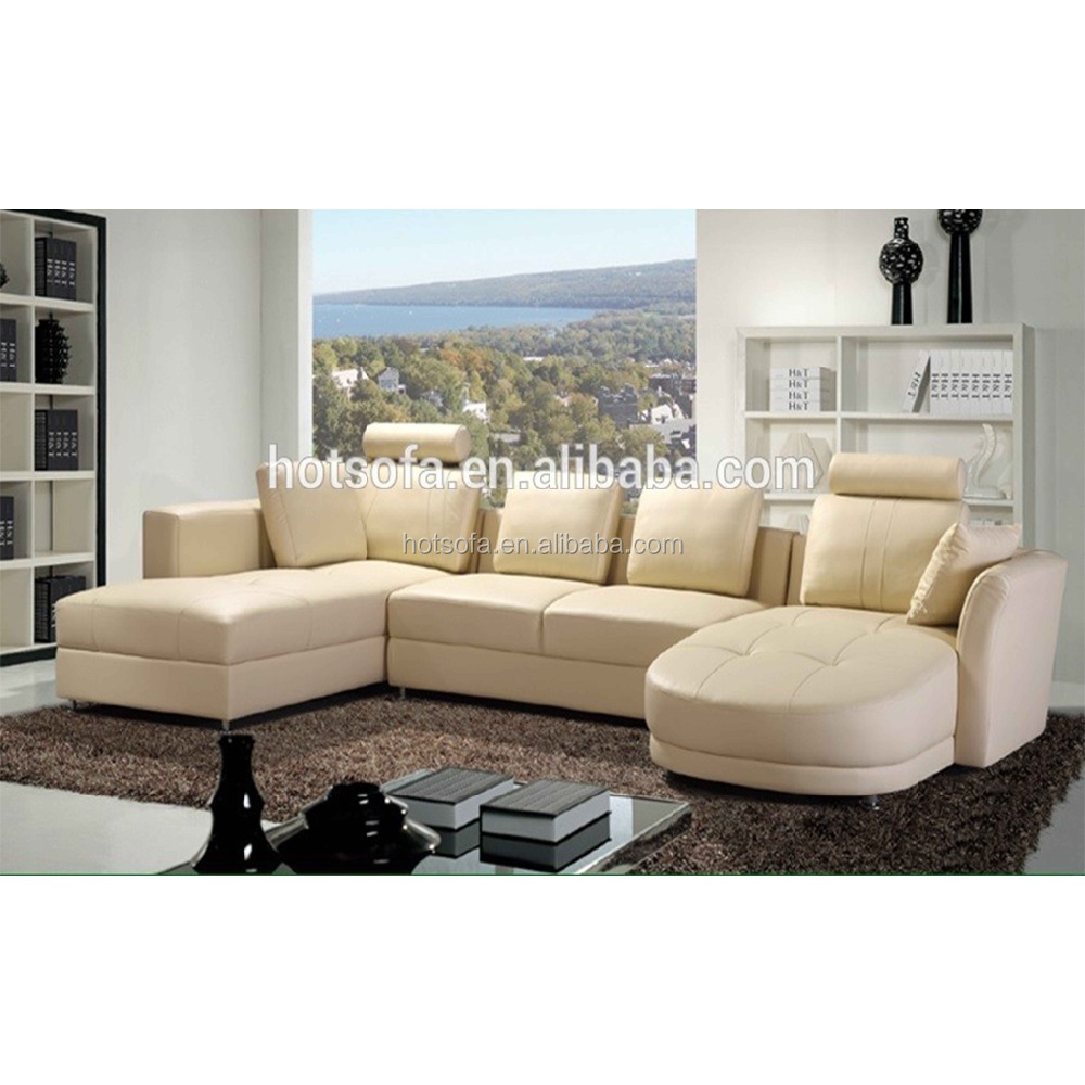 Beige Color Sectional Leather Sofa Design U Shape Make In China Factory