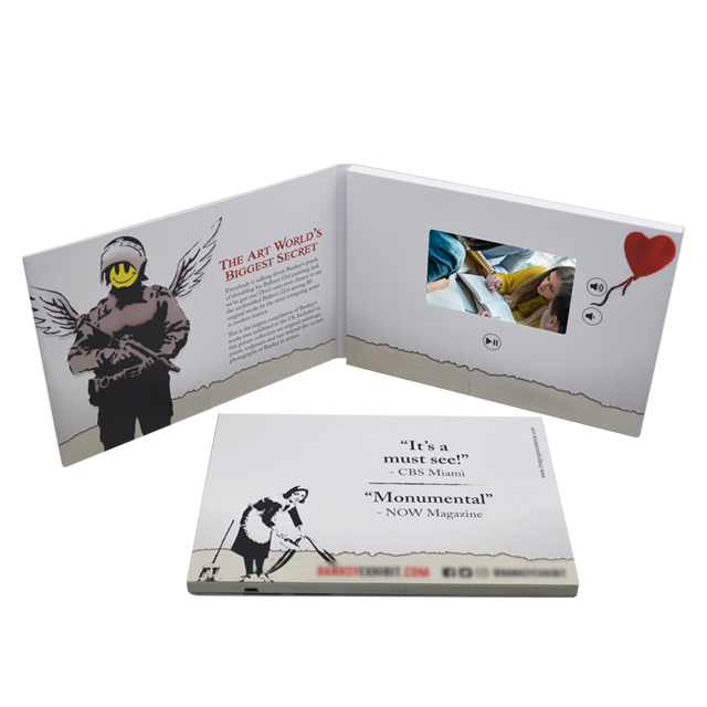 High quality 7 inch recordable invitation lcd video greeting card videocard lcd video mailer folder