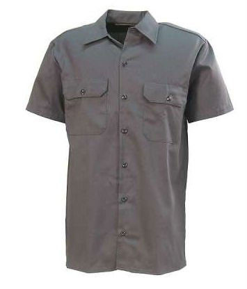 Custom Grey Button Front Short Sleeve Cotton Drill Work Shirts фото