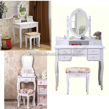 Luxury French Royalty Bedroom Furniture Set Classic Vanity Dressing Table  With Mirror
