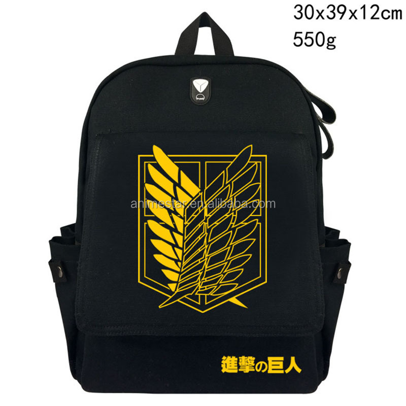 Hot-selling 2018 Attack on Titan Backpack Japan Anime Printing School Bag for Teenagers