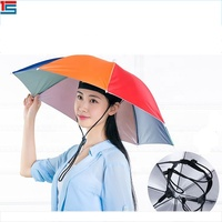 Folding Umbrella Hat Cap for Fishing Hiking Beach Camping Rainbow Cap Head Hats Outdoor Sports Rain Gear