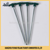 Tent Accessories Plastic Head Tent Peg Camping Ground Nail Galvanized Steel Stake