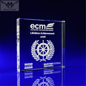Clear Crystal Glass 3D Laser Square Awards for Business Corporate Gift