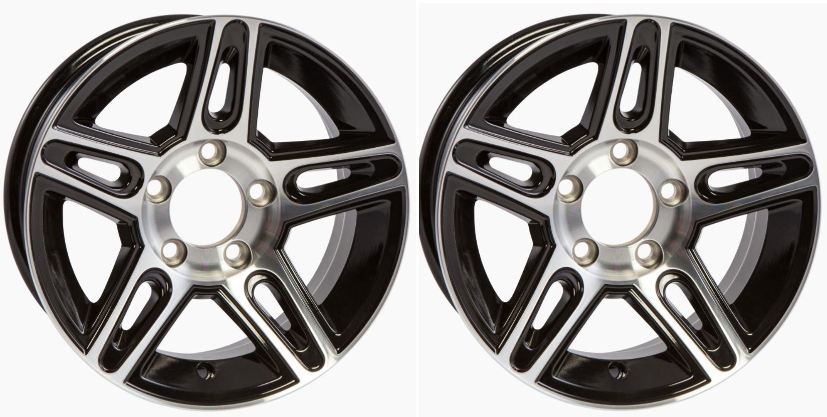 "eCustomRim TWO (2) Aluminum Sendel Trailer Rims Wheels 5 Lug 14"" Pinnacle Black Style"