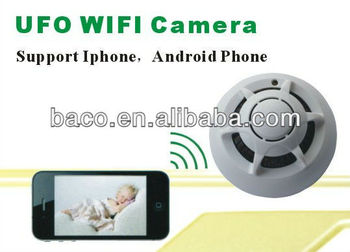 Iphone/android Smart Phone Wifi Direct/ P2p Function Ufo Camera Wifi Smoke  Detector Camera - Buy P2p Camera,Smoke Detector Ip Camera,Smoke Detector