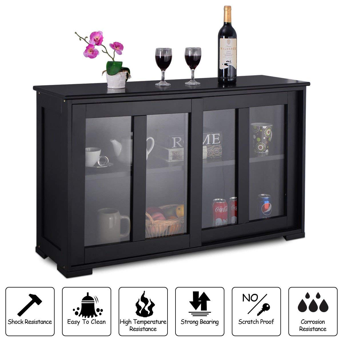 New Black,Storage Cabinet Sideboard Buffet Cupboard Glass Sliding Door Pantry Kitchen