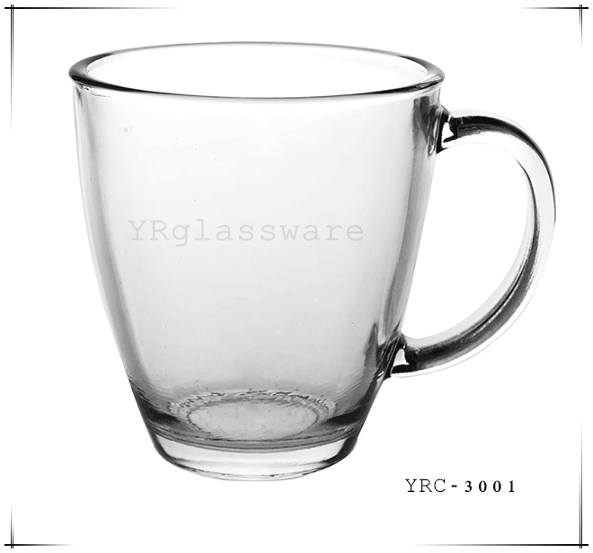 310g high quality clear drinking glass cup with handle