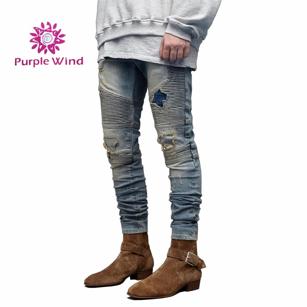 Men's distressed stretch ripped biker jeans refuge blend holes denim jeans фото