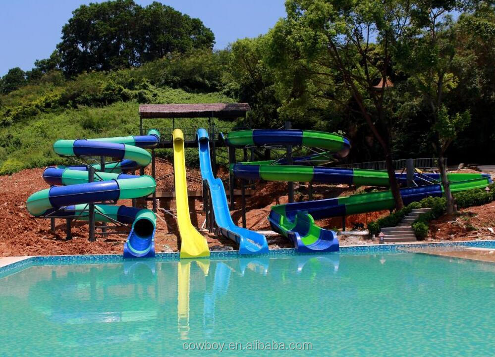 Kids & Adult outdoor playground water park free fall fiberglass large water slides used swimming pool slide for sale