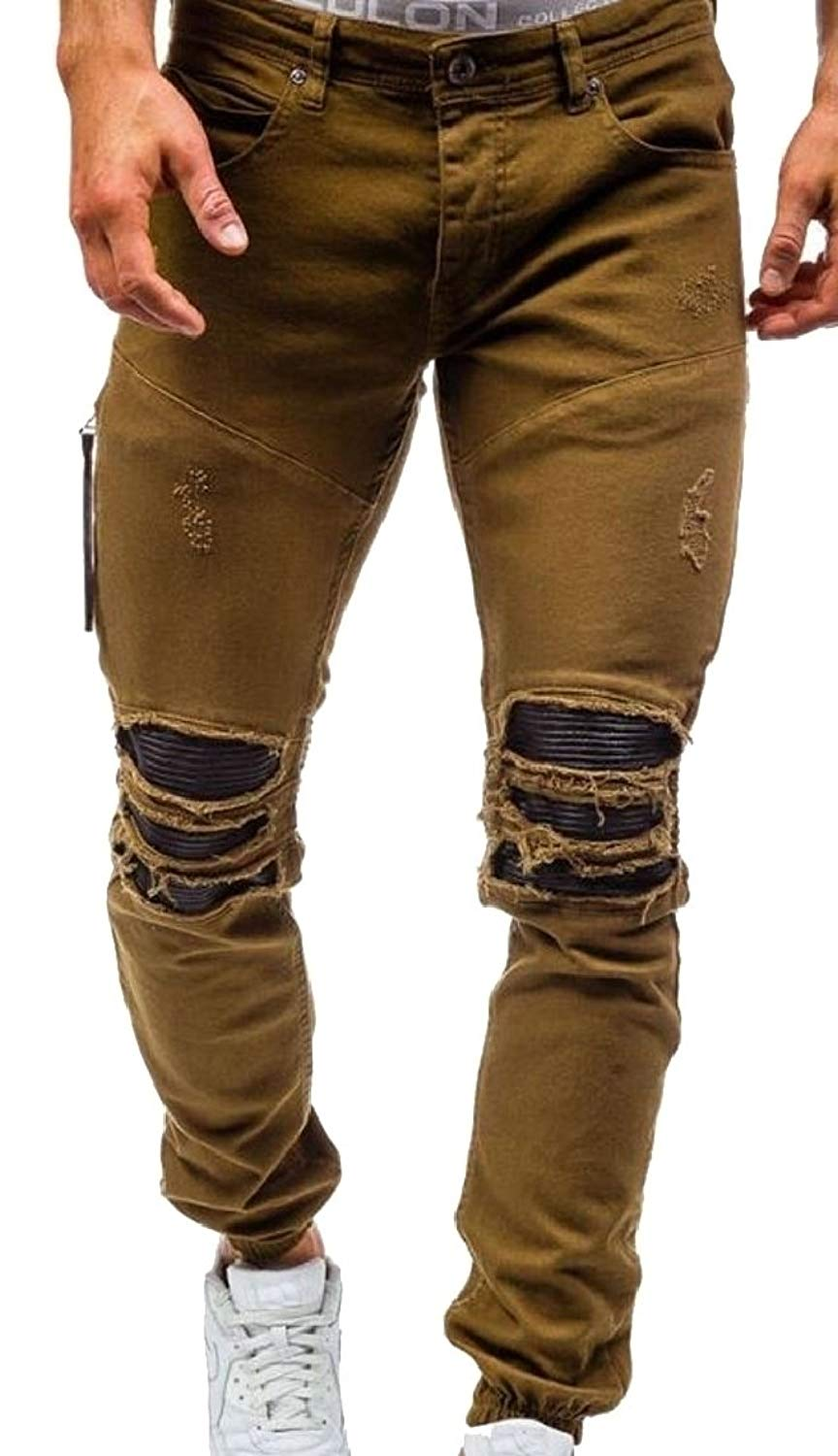 5eec16f8617 Get Quotations · ouxiuli Men's Vintage Ripped Jeans Vintage Fitted Stretchy  Tapered Leg Destroyed Jeans