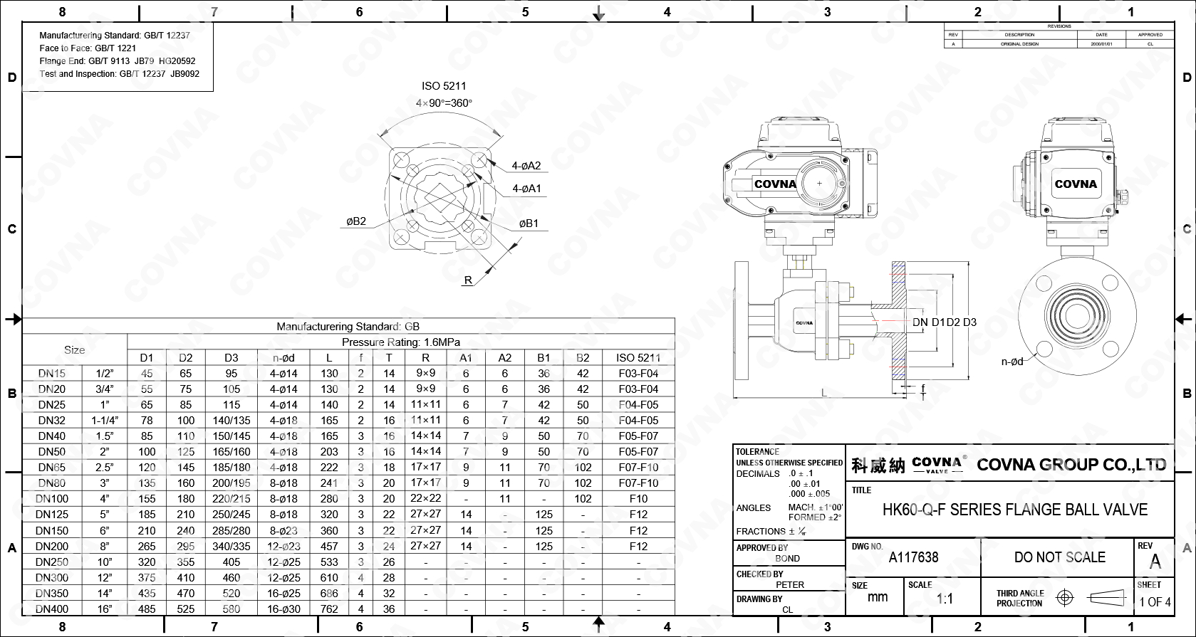 COVNA Elektrische Antrieb Edelstahl Industrielle Ball Ventil DN50