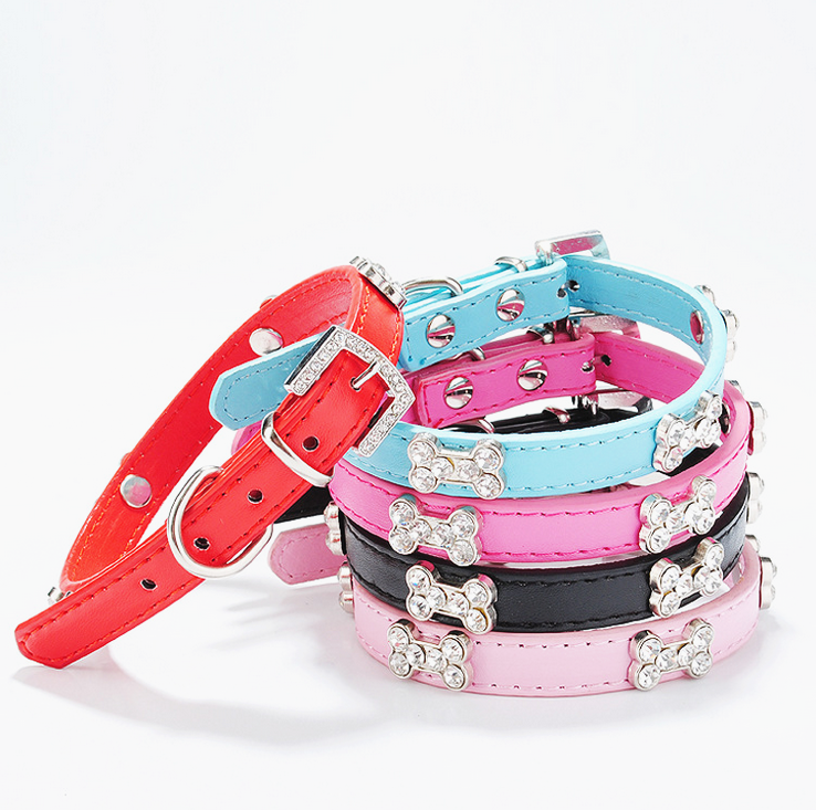 luxury pet accessories dog collar with crystal decorate pet safe collar China export