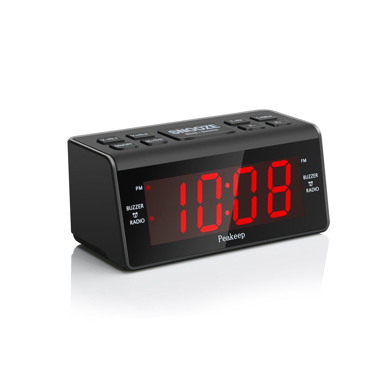 Get Quotations · Peakeep Little Digital FM Radio Dual Alarm Clock with  Snooze and Sleep Timer, Large Display