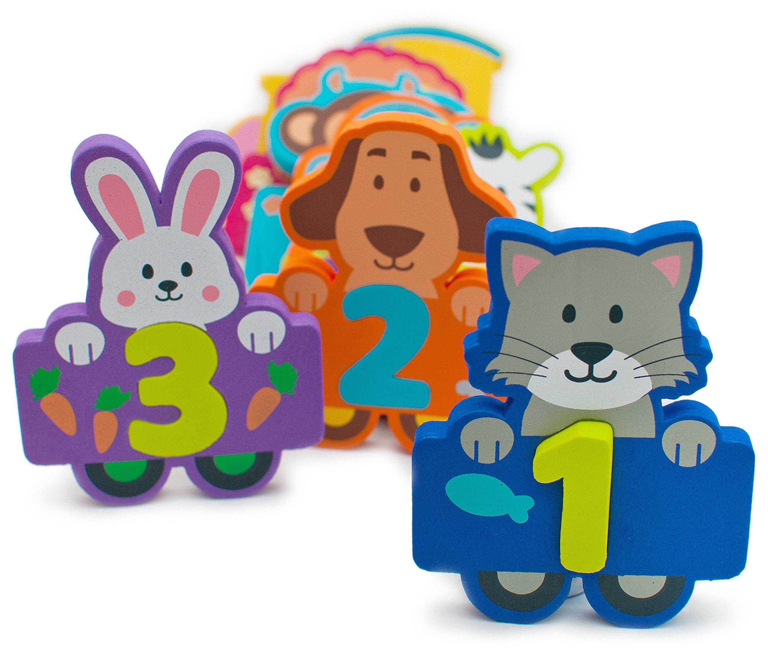 Foam Bath Toys Numbers Animals - Best Baby Bath Toy for Toddlers Kids Girls Boys - Non Toxic Bath Numbers Toy Set of 27pcs - Preschool Educational Floating Bathtub Toys - Bath Toy Storage Mesh Bag